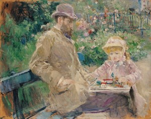 MMT 80688 Eugene Manet (1833-92) with his daughter at Bougival, c.1881 (oil on canvas) Morisot, Berthe (1841-95) MUSEE MARMOTTAN MONET, PARIS, ,